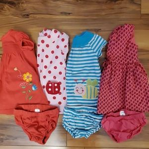 4 Carters 6 month dresses with diaper cover bottom